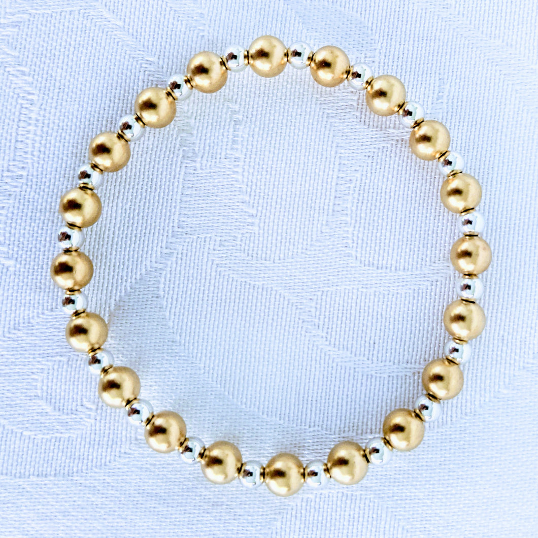 Alternating matte 14k gold fill beads with 4 mm bright sterling silver beads