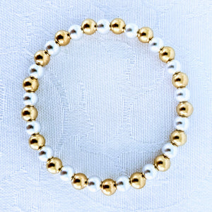 Alternating matte Sterling silver and 14 karat gold fill beads
