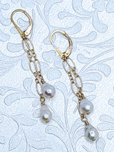 Load image into Gallery viewer, Delicate cascade pearl earrings with 14k gold fill chain