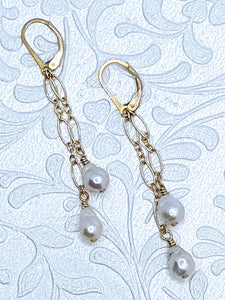 Delicate cascade pearl earrings with 14k gold fill chain