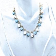 Load image into Gallery viewer, Delicate gold chain with petite baroque pearls & aquamarine shown (see all gem options).