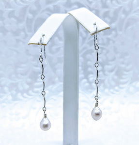 Delicate Sterling silver chain earrings with Baby Baroque pearl
