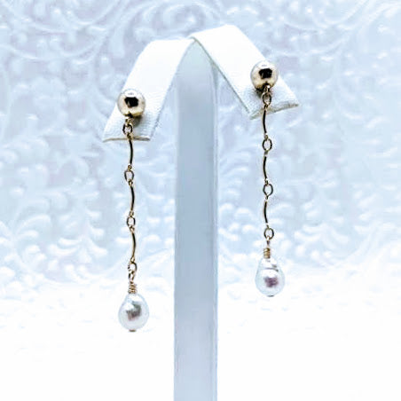 Delicate gold fill chain earrings with gold bead post and pearl