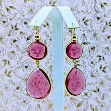 Load image into Gallery viewer, Double faceted earrings (shown Ruby Color Hydro Quartz)