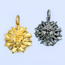 Load image into Gallery viewer, Pewter Sun Face pendant (available in pewter or gold plate over pewter)