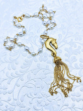 Load image into Gallery viewer, Horse Head Tassel Pewter pendant (available in pewter or gold plate over pewter)