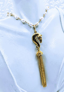 Horse Head Tassel Pewter pendant (available in pewter or gold plate over pewter)