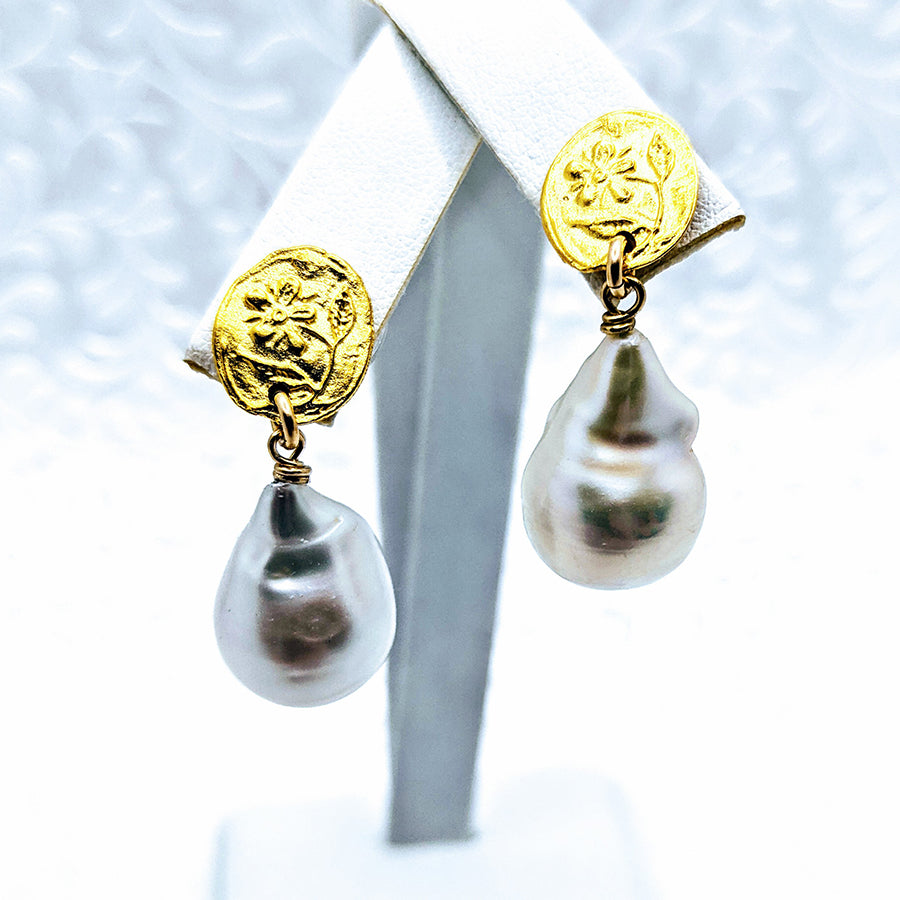 Floral post Baroque Pearl earrings