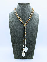 "Load image into Gallery viewer, 40"" Sparkle lariat with pearls (see all color options)"