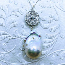 "Load image into Gallery viewer, CZ Baroque Pearl (Cubic Zirconia) Pendant 18"" Sterling satellite chain.necklace"