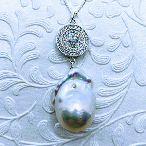 "CZ Baroque Pearl (Cubic Zirconia) Pendant 18"" Sterling satellite chain.necklace"