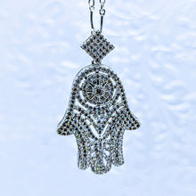 Load image into Gallery viewer, CZ Hamsa Hand (Cubic Zirconia) pendant on Sterling curved bar chain - 18""