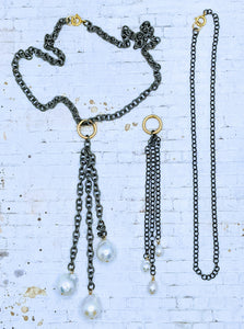 Gunmetal adjustable chain necklace with detachable gunmetal Pearl pendant