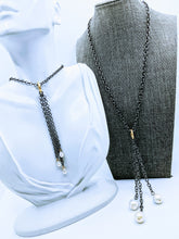 Load image into Gallery viewer, Gunmetal adjustable chain necklace with detachable gunmetal Pearl pendant