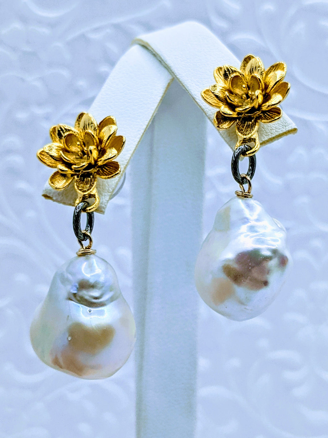 Gold flower post and pearl earrings