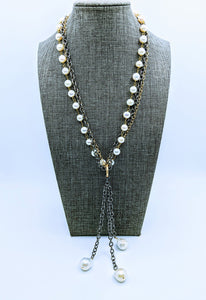 Gunmetal triple chain with Pearl - 20""