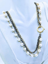 Load image into Gallery viewer, Gunmetal triple chain with Pearl - 20""