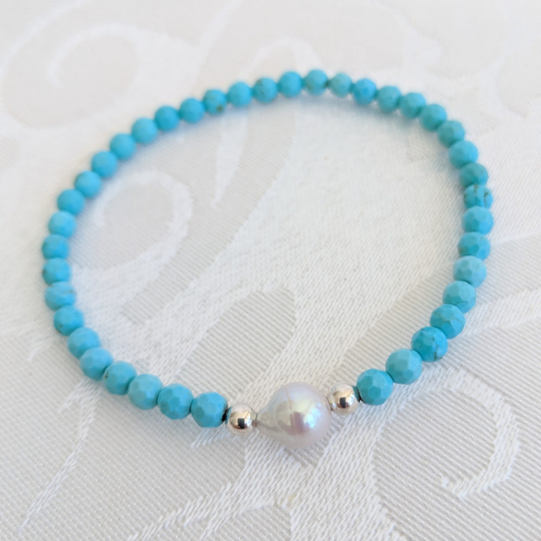 Turquoise and pearl bracelet (silver accent)