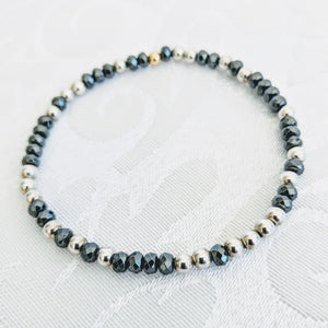 Faceted Hematite with Sterling silver accent