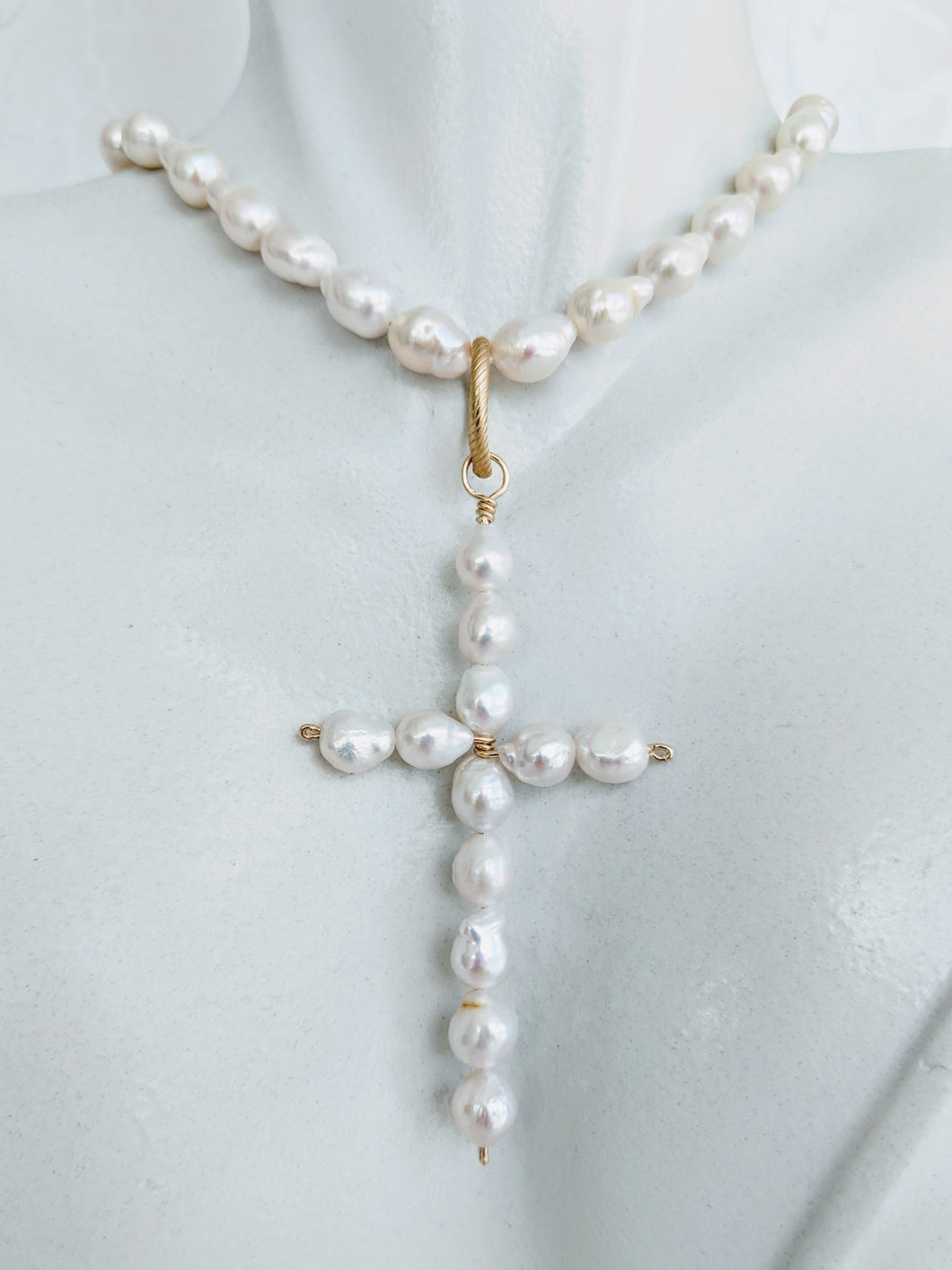 Baby Baroque freshwater pearl cross