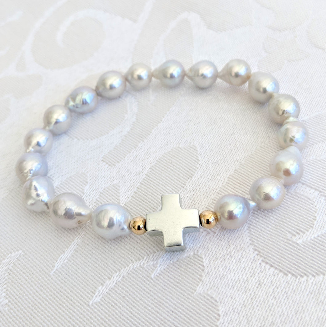 Baby Baroque pearl with Sterling silver cross