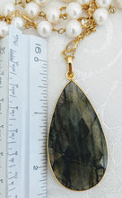 Load image into Gallery viewer, Pearl chain with faceted pendant (shown with Labradorite) See other colors.