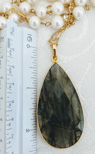 Pearl chain with faceted pendant (shown with Labradorite) See other colors.