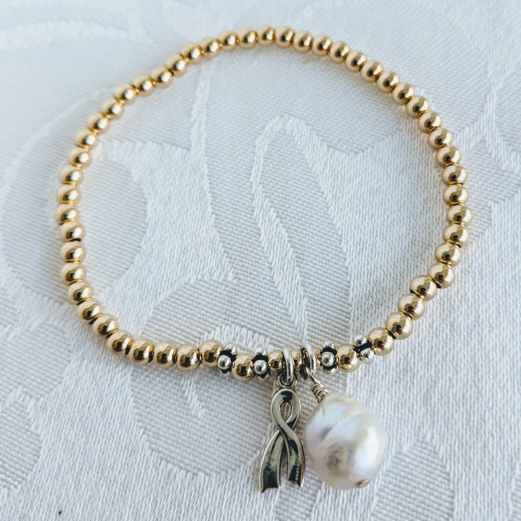 Gold balls with silver awareness ribbon and pearl charm