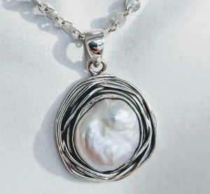 "Sterling silver ""nest"" pendant with large pearl"