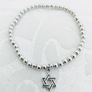 Sterling silver with silver Star of David