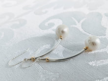Load image into Gallery viewer, Sterling tube pearl earrings