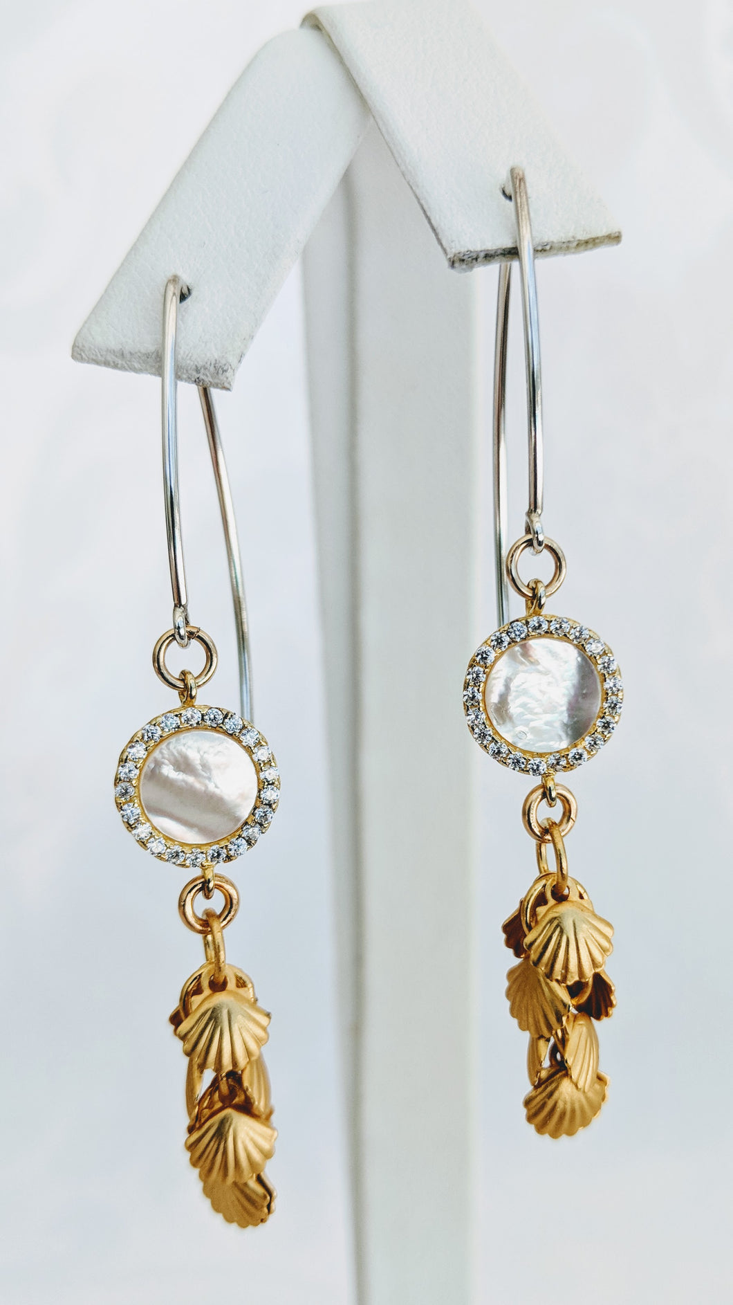 Sterling and gold, Mother of Pearl, drop earrings