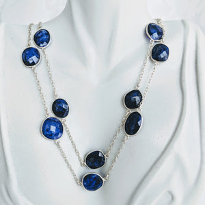 Sterling silver and Blue Sapphire gem chain necklace