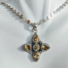 Load image into Gallery viewer, Citrine and Sterling silver 4 point pendant