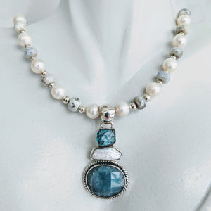 Pearl and Silverite necklace with gem pendant