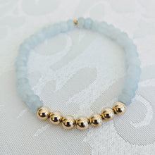 Load image into Gallery viewer, Aquamarine and 14k gold fill beads bracelet