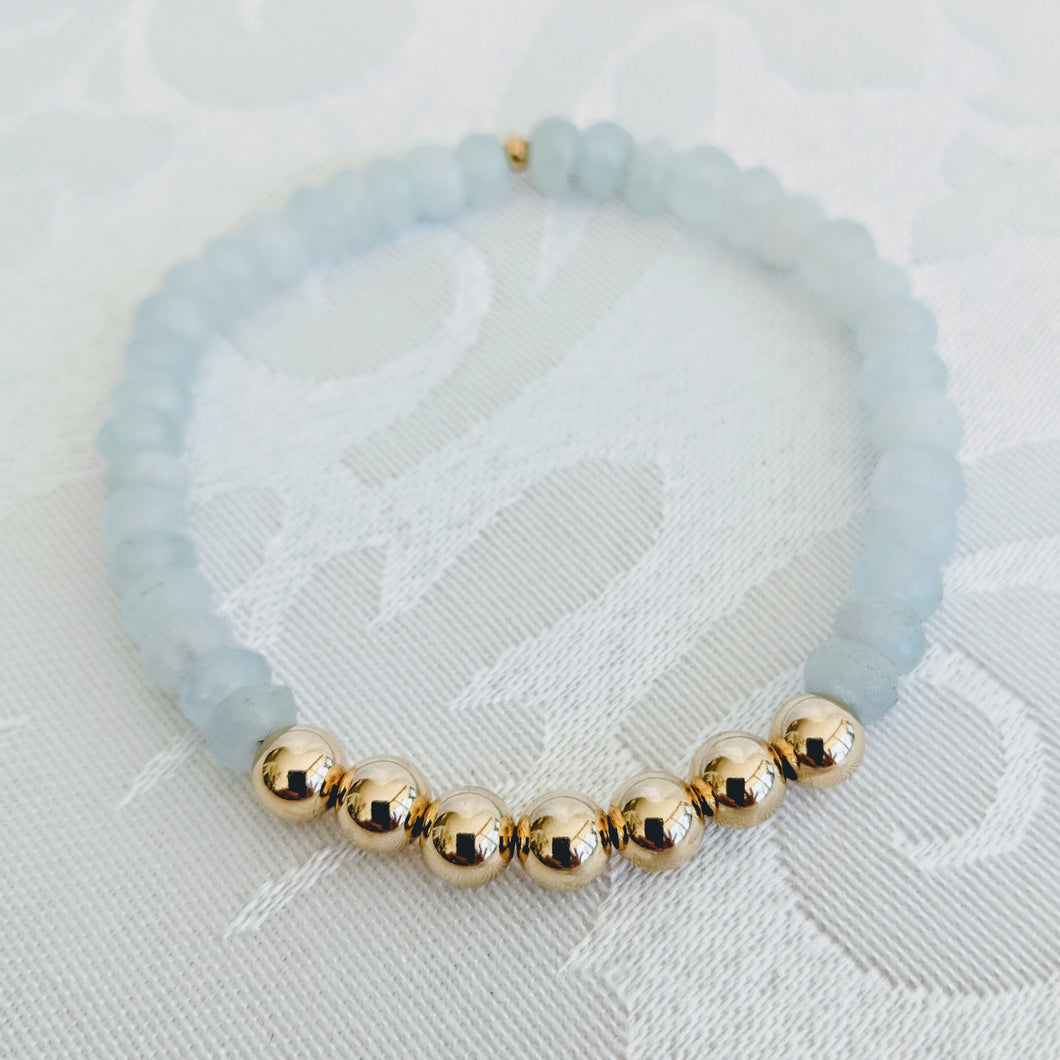 Aquamarine and 14k gold fill beads bracelet