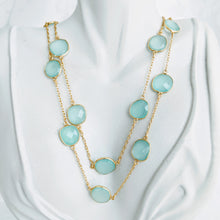 Load image into Gallery viewer, Gold and Sea Green Chalcedony gem chain necklace