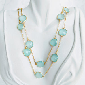Gold and Sea Green Chalcedony gem chain necklace