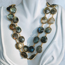 Load image into Gallery viewer, Gold and Labradorite gem chain