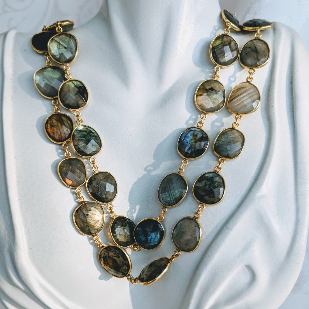 Gold and Labradorite gem chain