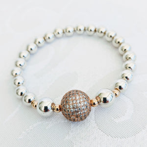 Sterling silver balls with rose CZ ball