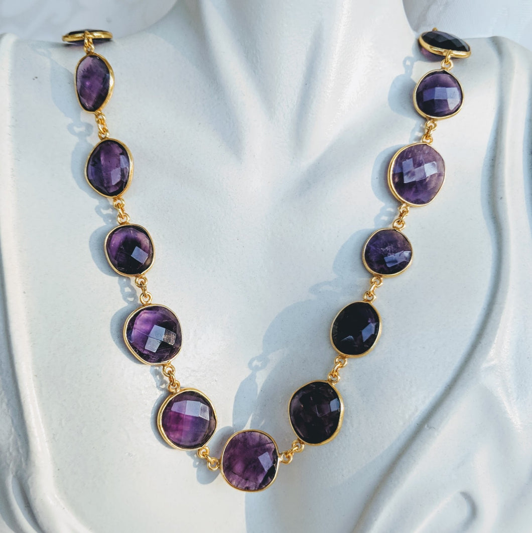Gold and Amethyst gem chain necklace