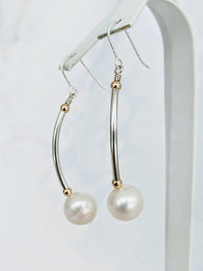 Sterling tube pearl earrings