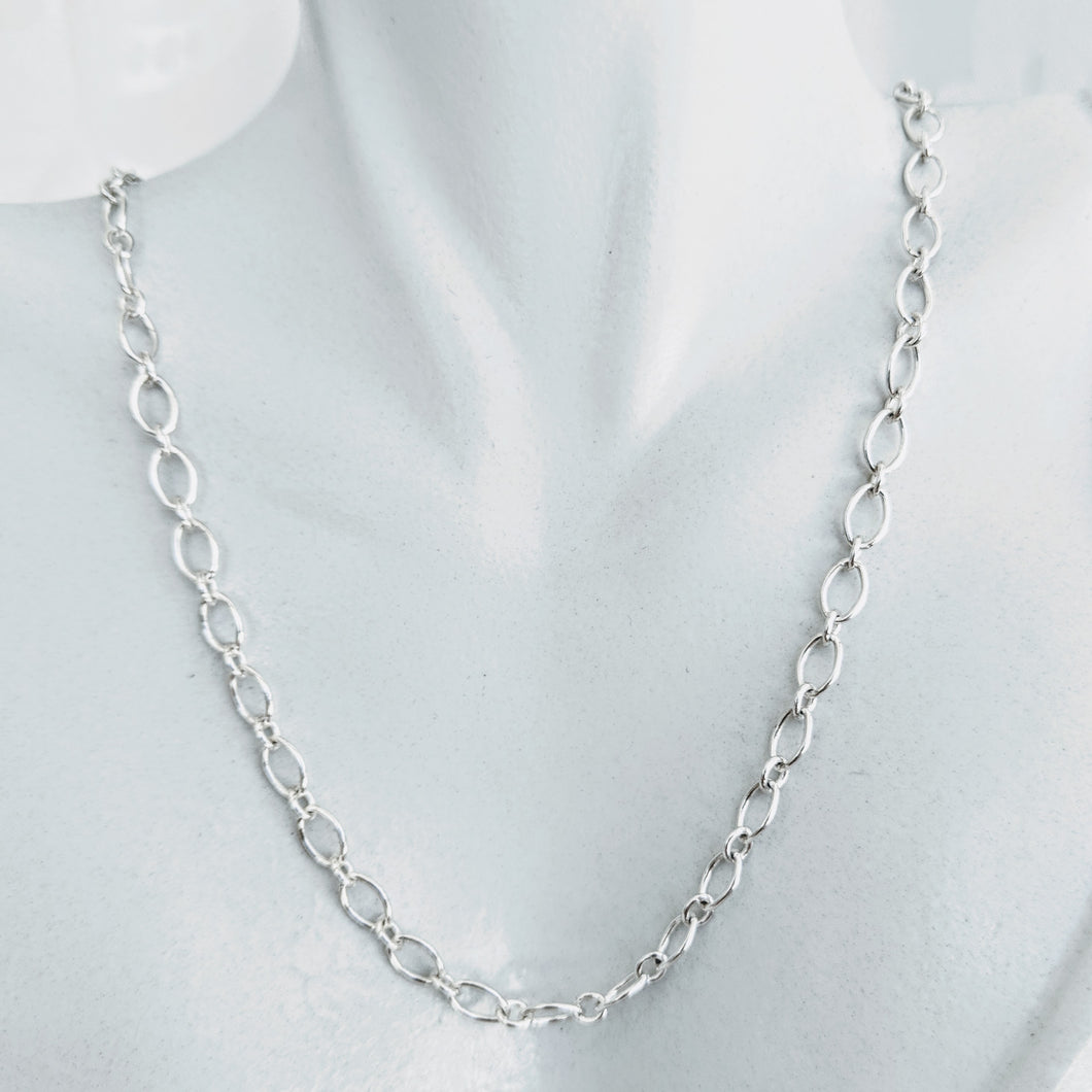 Sterling silver long & short link chain