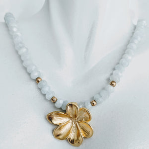 Aquamarine with gold floral pendant necklace