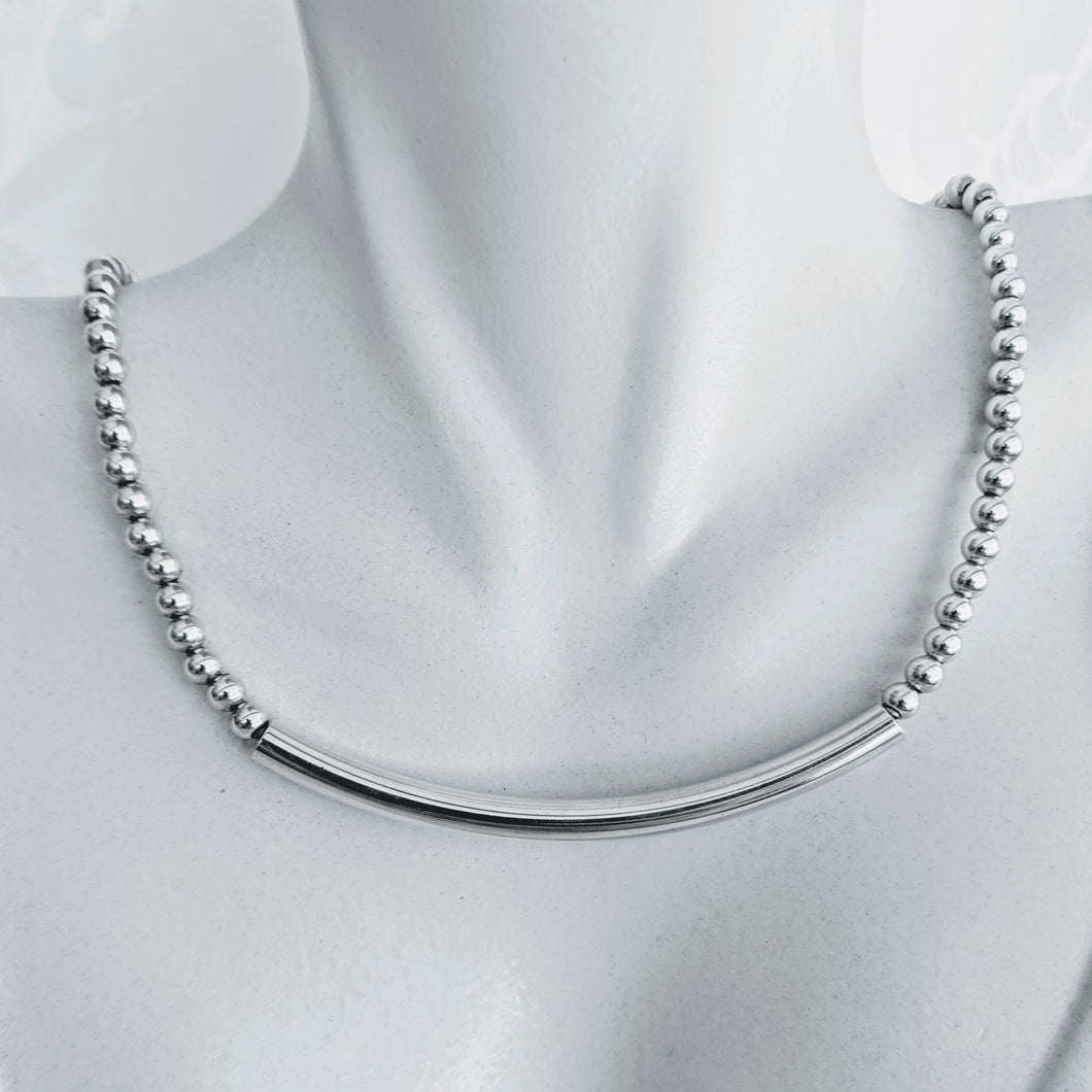 Sterling silver ball necklace with SS tube bar (also available in 14k gf)