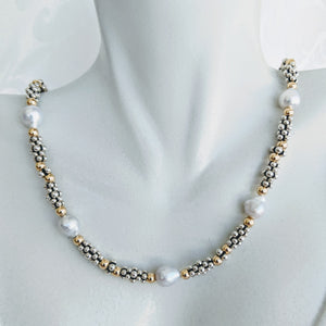 Sterling silver caviar, gold and Baby Baroque pearl necklace