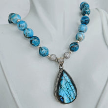 Load image into Gallery viewer, Natural Apatite with Labradorite pendant necklace