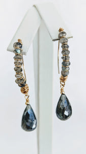 Faceted Labradorite wired earrings
